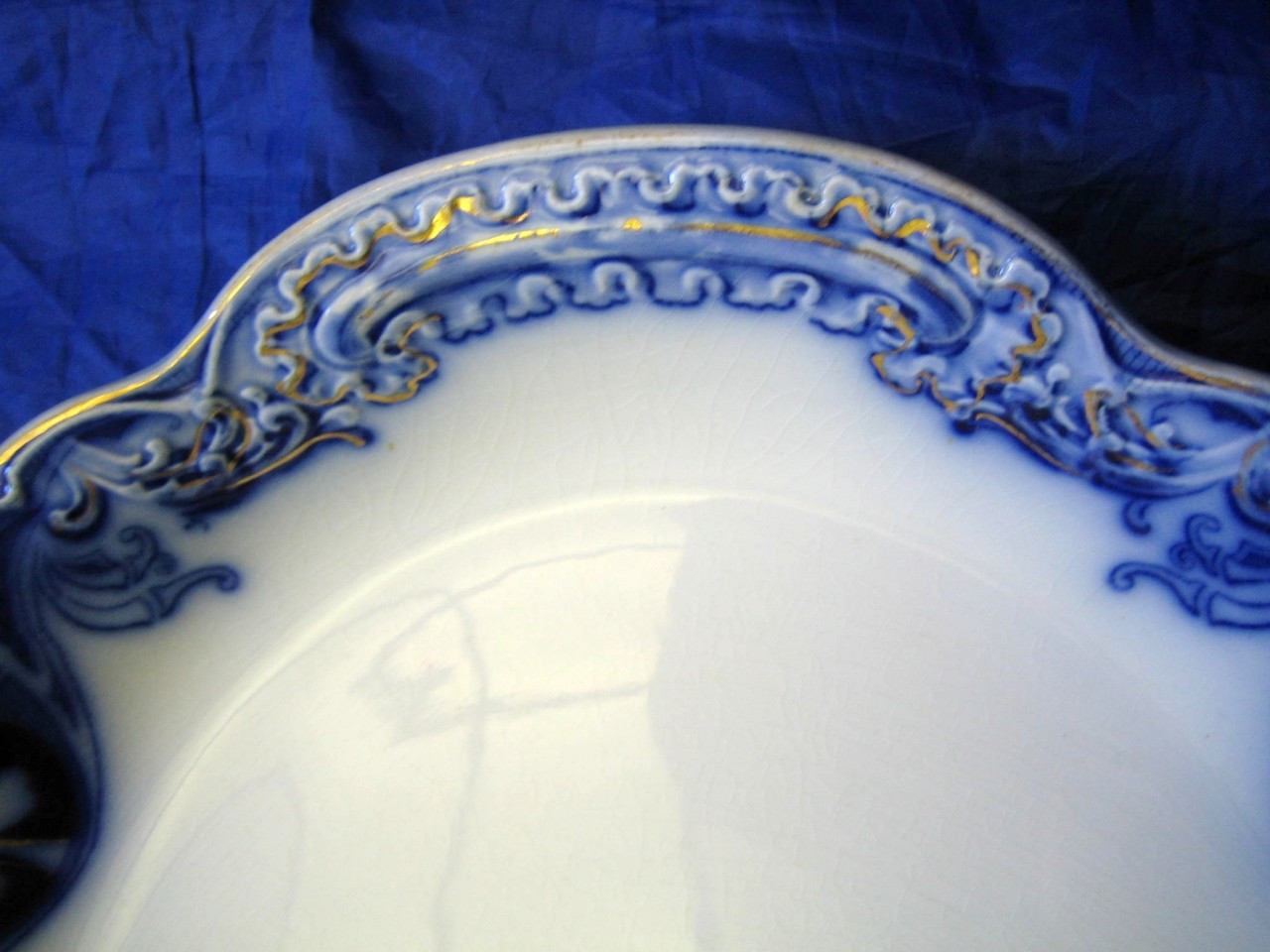 HUGE Flow Blue Shamrock Gold Antique Handled Tray Platter Edge www.DecorativeDishes.net