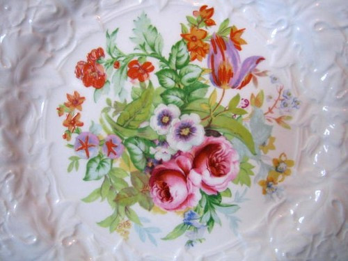 Tulip Roses Pansy Textured Hand Painted Garden Plate Center www.DecorativeDishes.net