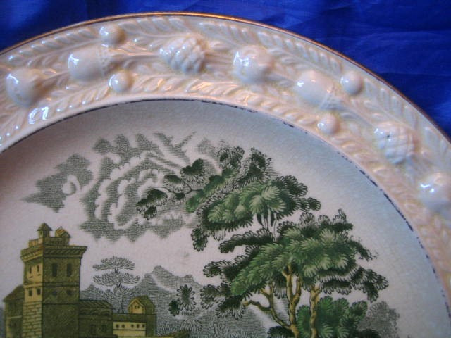 OLD Shabby Green Yellow Pink Toile Woman River Cows Raised Edge Plate Edge www.DecorativeDishes.net