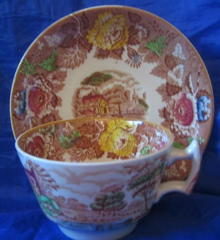 Brown Yellow Rose Green Village Chickens Cup Saucer Center www.DecorativeDishes.net