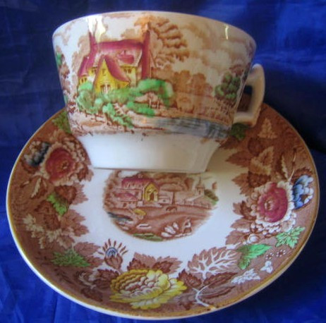 Brown Yellow Rose Green Village Chickens Cup Saucer Edge www.DecorativeDishes.net