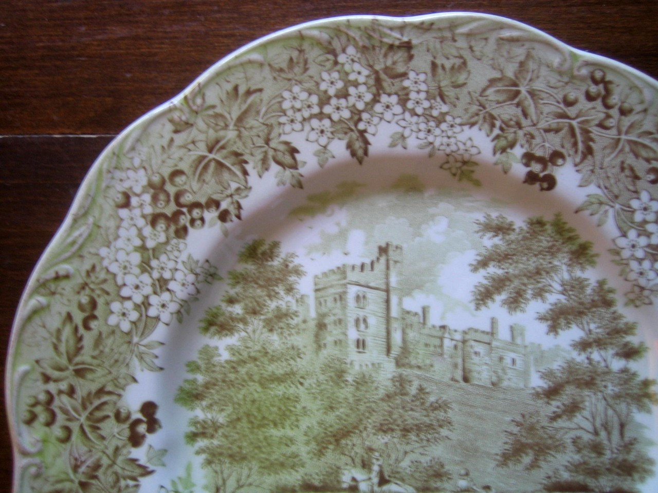 Sage Green Brown Toile Horse Girl Hat Vintage Plate Edge www.DecorativeDishes.net