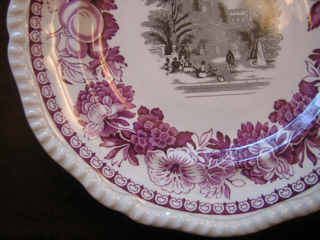 Purple Plum Black Toile Exotic Garden Fruit Floral Plate Edge www.DecorativeDishes.net