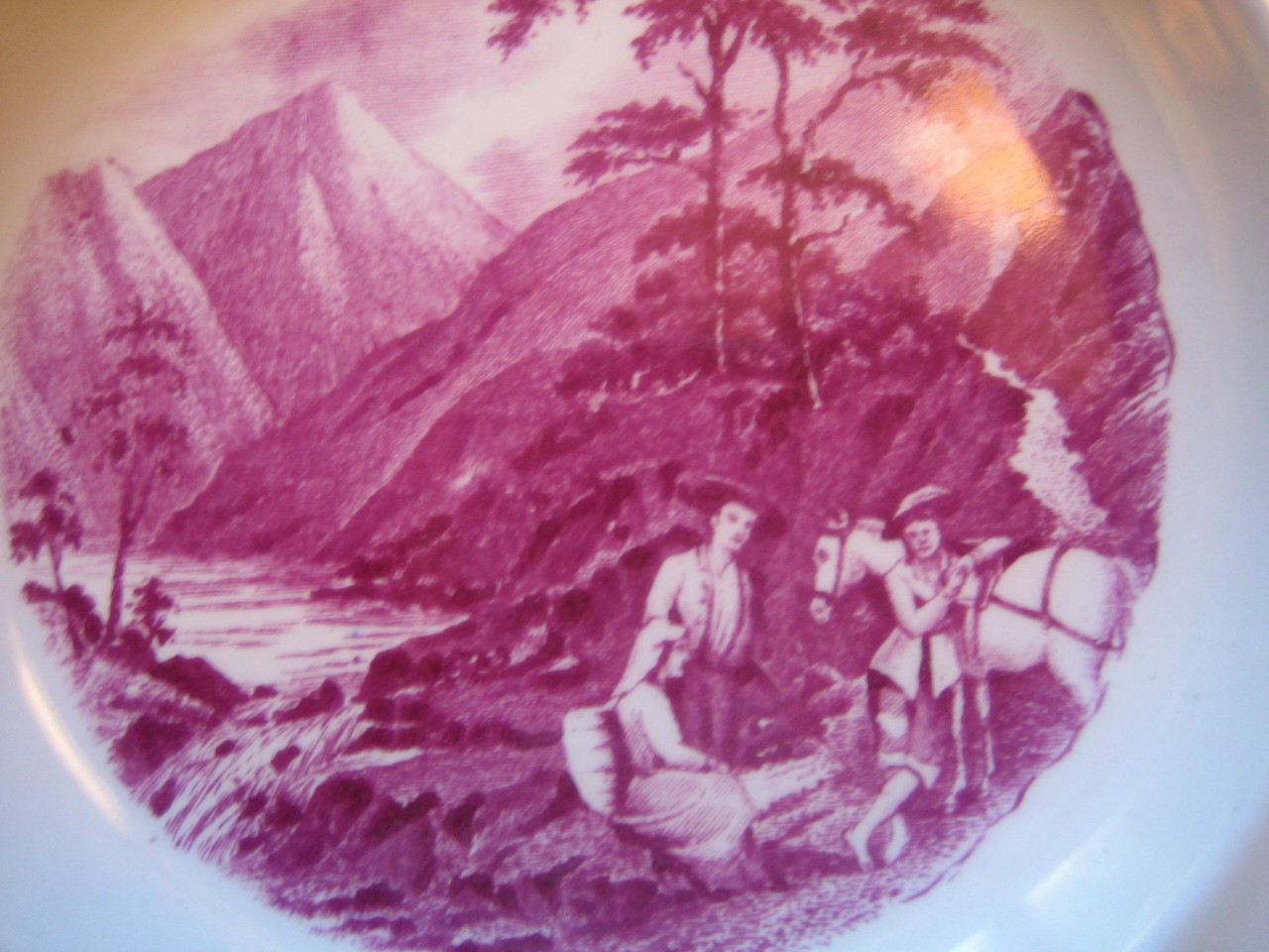 Fuschia Deep Pink Mountain Stream Horse 1920s Plate S Center www.DecorativeDishes.net