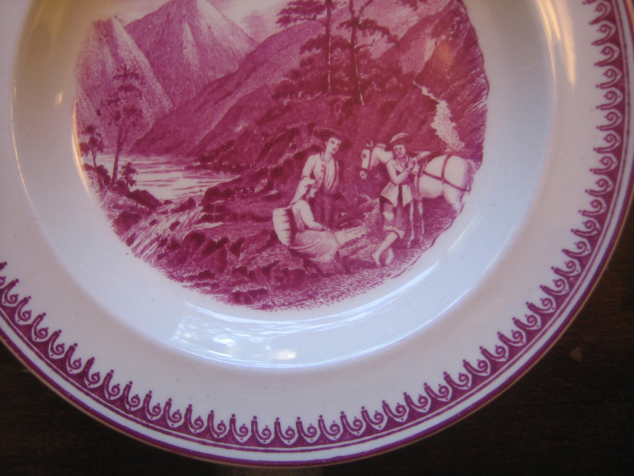 Fuschia Deep Pink Mountain Stream Horse 1920s Plate S Edge www.DecorativeDishes.net