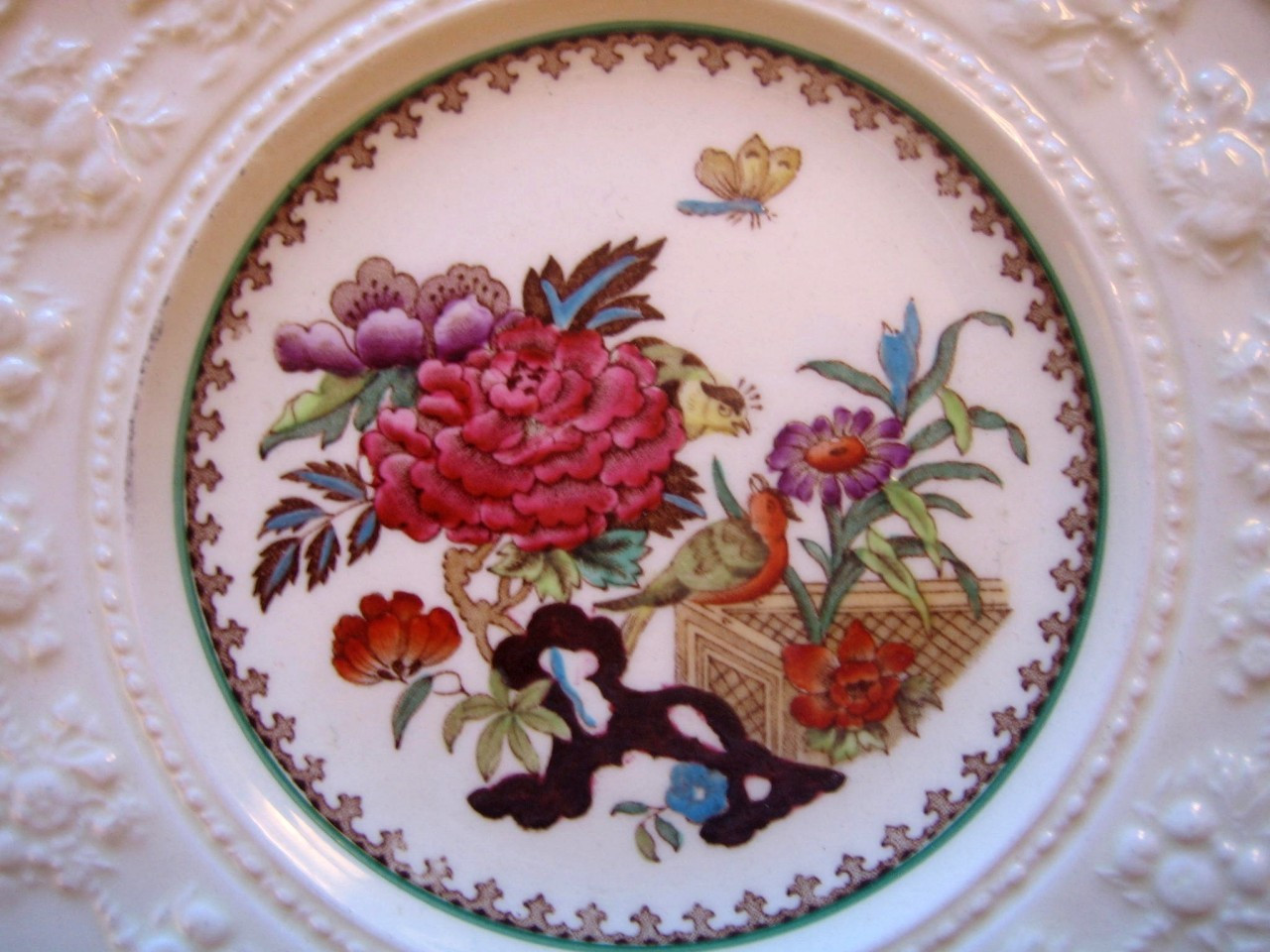 Chinoiserie Exotic Rose Birds Butterfly Textured Fruit Edge Plate Center www.DecorativeDishes.net