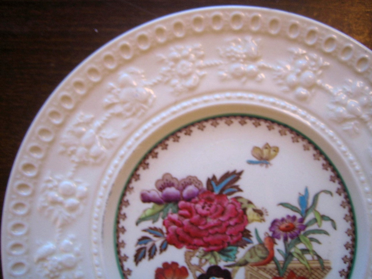 Chinoiserie Exotic Rose Birds Butterfly Textured Fruit Edge Plate Edge www.DecorativeDishes.net